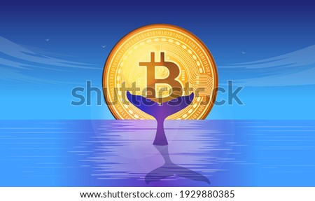 Bitcoin whale - Metaphor illustration with whale tail in ocean, and bitcoin in the horizon. Vector.