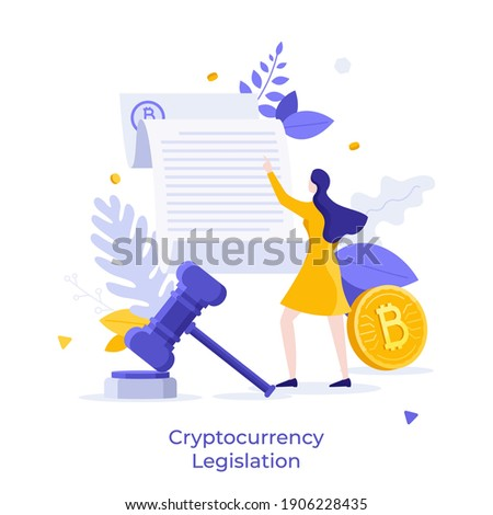 Bitcoin, woman reading document and gavel. Concept of cryptocurrency legislation, legal regulation of crypto or digital currency, blockchain law. Modern flat vector illustration for poster, banner. Photo stock ©