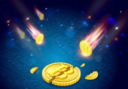 Bitcoins falls, 3d isometric vector illustration with cryptocurrency