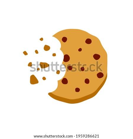 Bite of dessert. Bread crumbs. Chocolate sweetness. Flat cartoon illustration. Eaten cookies.