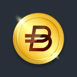 Bitpanda ecosystem crypto currency digital payment system blockchain concept. Cryptocurrency golden coin isolated on dark background. Vector illustration