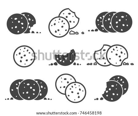bitten chip cookies icon set