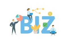 BIZ. Concept with people, letters and icons. Colored flat vector illustration. Isolated on white background.