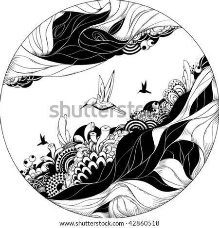 Bizarre vector illustration. Black and white ink sketch. - stock vector