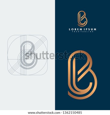BL monogram logo design illustration concept Stock fotó ©