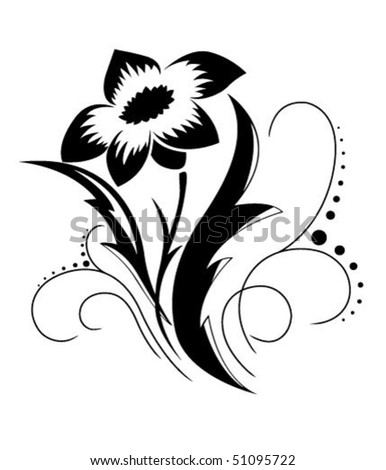 flower patterns black and white. stock vector : Black a white