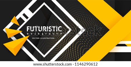 Black Abstract Background with Triangle Pattern and with yellow stripes luxury dynamic modern abstract vector background for presentation, report, abstract luxury cover. Paper style black abstract.
