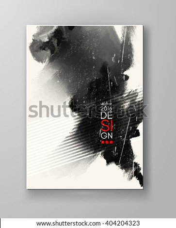 Black abstract design. Ink paint on brochure, Monochrome element isolated on white. Grunge banner paints. Simple composition. Liquid ink. Background for banner, card, poster, identity,web design.
