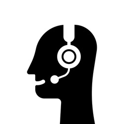 black abstract head like hotline or support service. concept of business counselor or virtual assistant or technical receptionist with mic. flat simple technical operator logo element graphic design