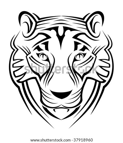 Black Abstract Illustration Of The Head Of A Tiger Suitable For A