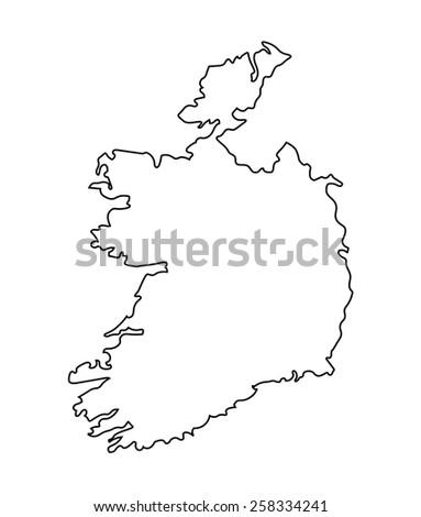 black abstract map od Ireland