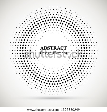 Black abstract vector circle frame halftone dots logo emblem design element. 