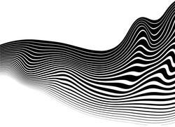 Black abstract wavy lines on a white background. For covers, business cards, banners, prints on clothes, wall decor, posters, canvases, websites, posts on social networks, videos. Modern vector backgr