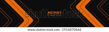 Black abstract wide horizontal banner with orange and gray lines, arrows and angles. Dark modern sporty bright futuristic abstract background. Wide vector illustration EPS10.