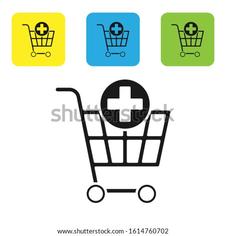 Black Add to Shopping cart icon isolated on white background. Online buying concept. Delivery service sign. Supermarket basket symbol. Set icons colorful square buttons. Vector Illustration Stock foto ©