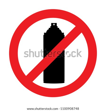 Black aerosol spray can icon on white background. No aerosol graffiti spray can sign icon. Aerosol paint symbol. Vector illustration