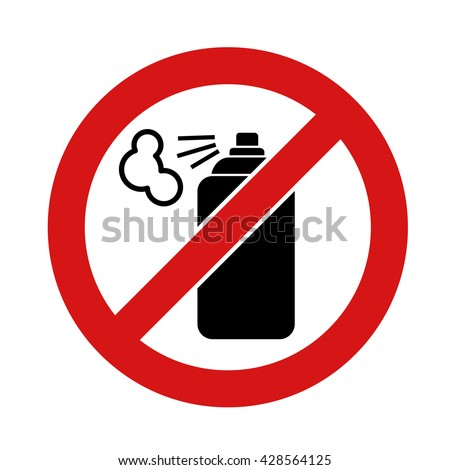 Black aerosol spray can icon on white background. No aerosol graffiti spray can sign icon. Aerosol paint symbol.