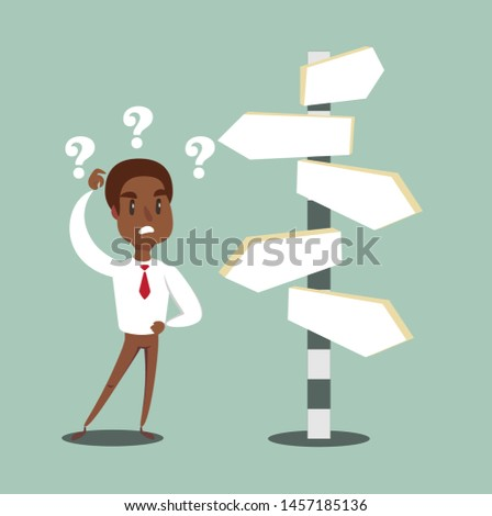 black african american businessman standing at cross road confused by direction signs. Choices and decision concept. Stock flat vector illustration.