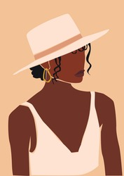 Black afro abstract woman in hat. Vector girl portrait.