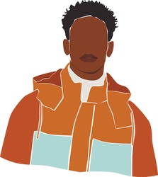 Black afro young man on the white isolated  background. Abstract man portrait.