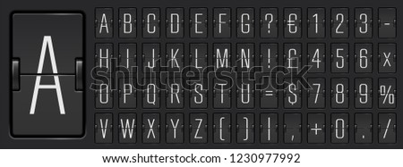 Black airport flip board mechanical light alphabet with numbers for destination information or timetable show. Terminal scoreboard font  to display flight departure or arrival info vector illustration