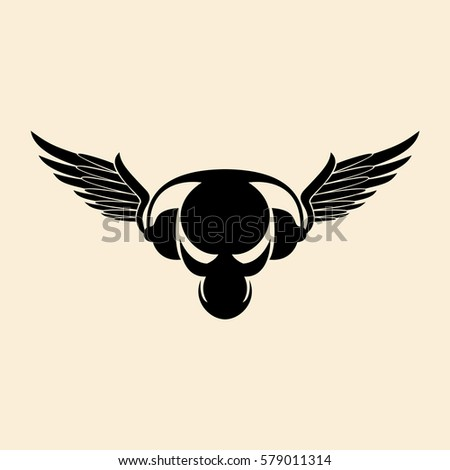 black alien skull with wings