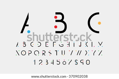 Black alphabetic fonts and numbers with color points. Vector eps10 illustrator.