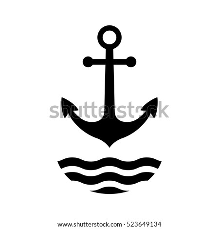 Black anchor vector icon, isolated object on white background,