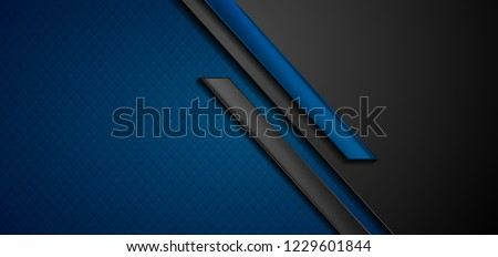 Black and blue abstract tech geometric background. Vector corporate design #1229601844