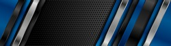 Black and blue metal stripes on dark perforated background. Vector hi-tech geometric design