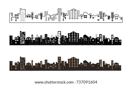 Black and brown buildings silhouette. Line of the city