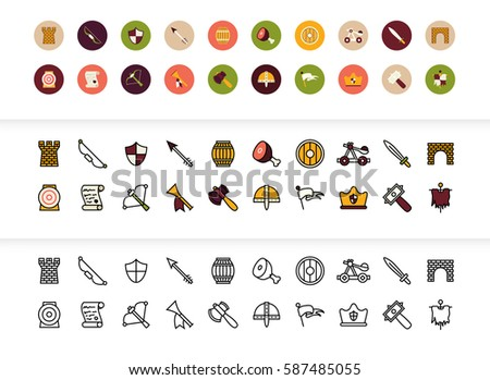 black and color outline icons