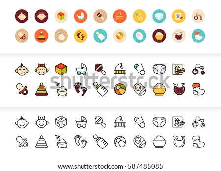 Black and color outline icons thin flat design, modern line stroke style, web and mobile design element, objects and vector illustration icons set 27 - baby and childhood collection