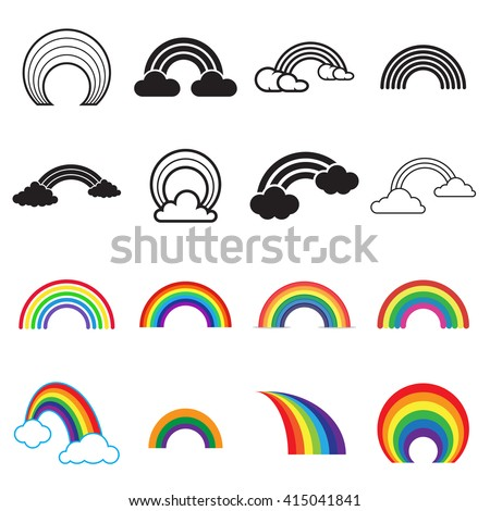black and colored rainbow icons
