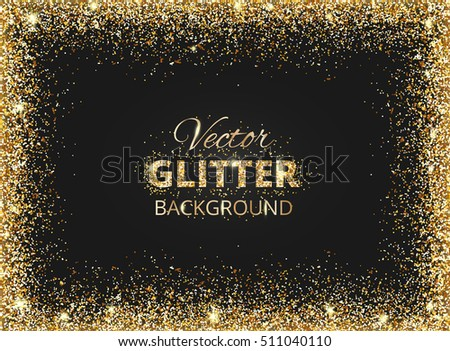 Luxury golden frame with text space download vetores e grficos black and gold background with glitter frame and space for text vector glitter decoration stopboris Image collections