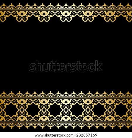 black and gold background with vintage border - vector #232857169