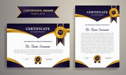 Black and gold certificate of achievement border template. Creative and modern certificate with luxury badge and modern line pattern. Graduation vector template
