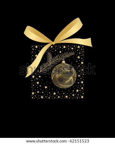 Black and Gold Christmas card illustration.