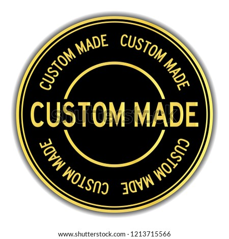 Black and gold color sticker in word custom made on white background
