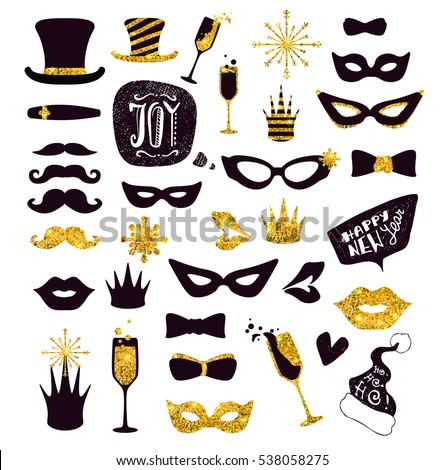 Black-and-gold moustaches, lips, masks,... Glitter Photo Booth Props, isolated on white. Decorative elements for Merry Christmas or New Year's Eve Party. Hand drawn vector illustration.