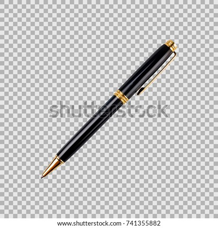 Black and gold pen in a realistic style isolated on transparent background. 3d. Stock - Vector illustration for your design and business
