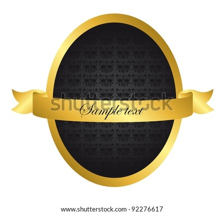 black and gold shield ornament isolated over white background. vector