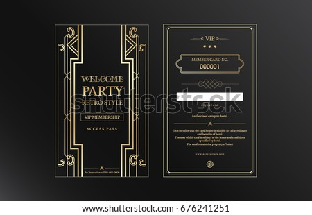 Black and gold VIP member card vector retro for vintage party Gatsby style, hotel, bar and restaurant.