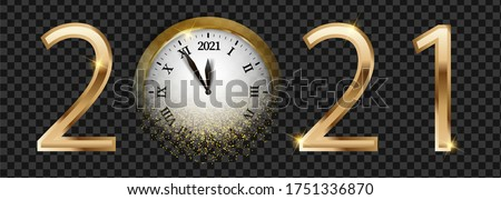 Black and golden shiny 2021 New Year web banner. Card with snow, reflection and blurred round clock the chimes Kremlin Spasskaya Tower dark background. Isolated vector illustration for website