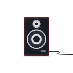 Black and gray loudspeaker with red wood case. Hi-fi or high-end class acoustic speaker or audio monitor with wire.