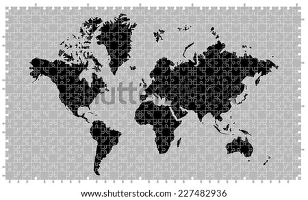 Jigsaw planet download free vector art stock graphics images black and gray world map made of 680 pieces of jigsaw puzzle removable pieces gumiabroncs Gallery