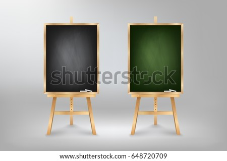 Black and Green Blackboard on wooden easel, rubbed out dirty chalkboard, vector illustration