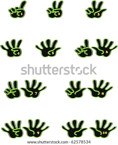 Black and green hands counting from 1 to 10 with fingers and gold numbers on the palm of the hand icon illustration vectors