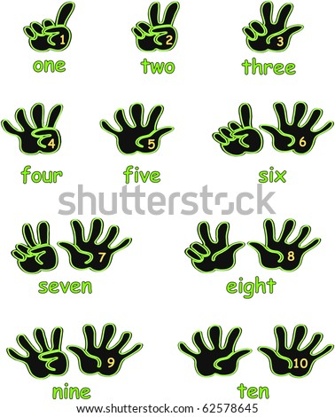 Black and green hands counting from 1 to 10 with fingers and numbers on the palm and the numbers in words below each hand icon illustration vectors - stock vector