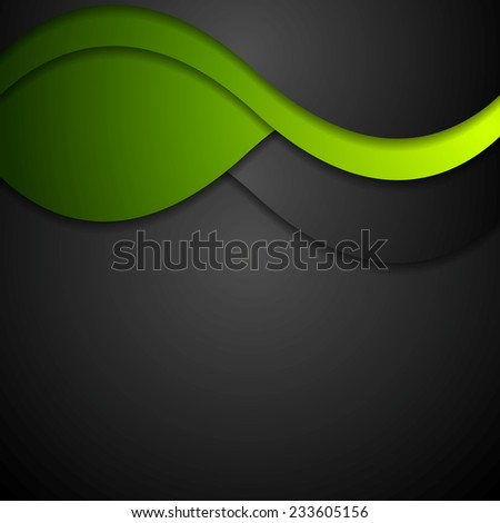 black and green waves abstract